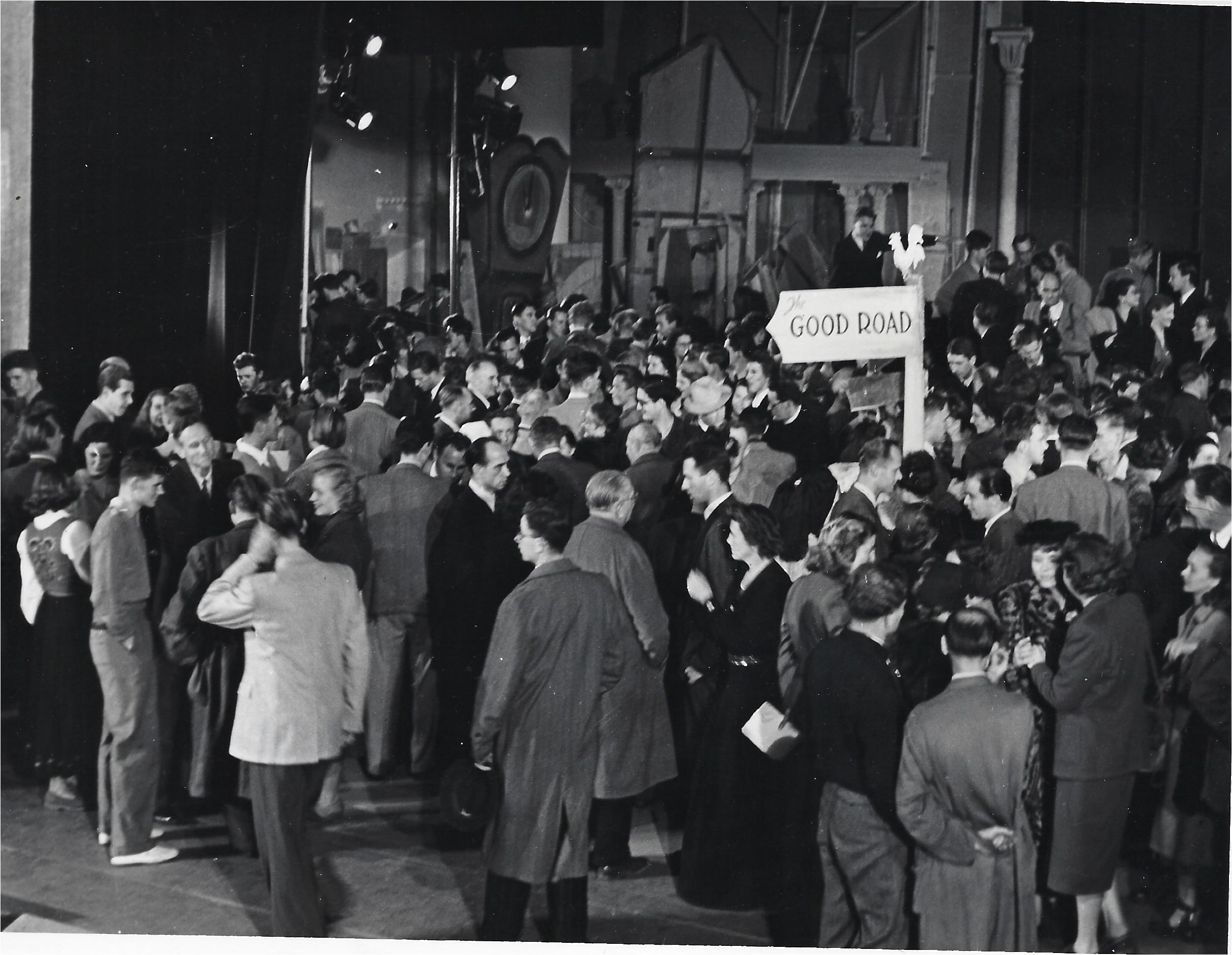 The cast of The Good Road meet the audience backstage after the show in Germany 1948