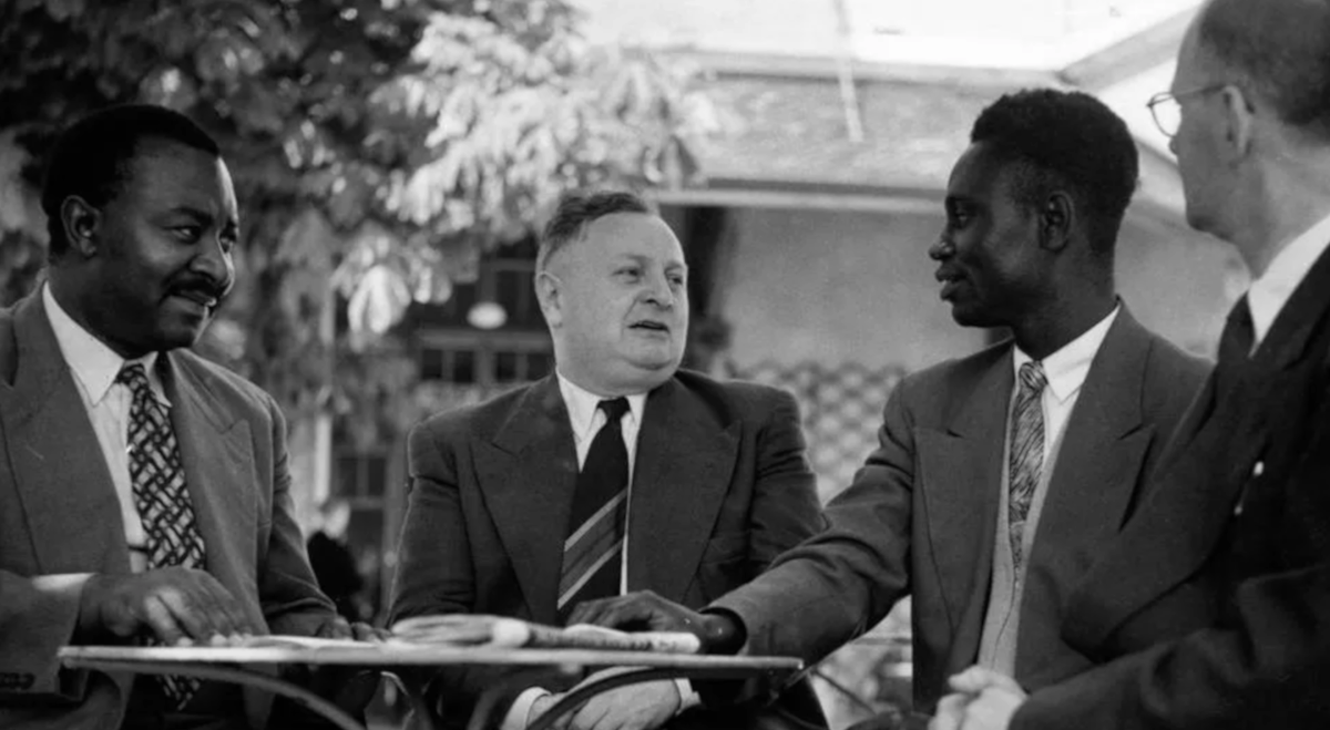 Maurice Mercier in Caux with William NKomo, François Bekoungou and Harry Wickham