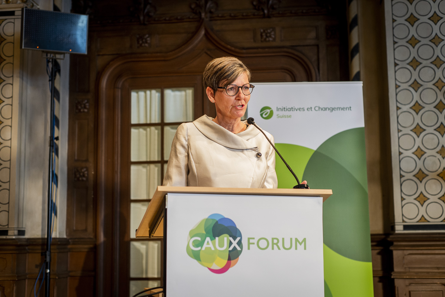 Barbara Hintermann speaking at the 2019 Caux Forum