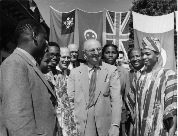 Frank Buchman with Africans in Caux