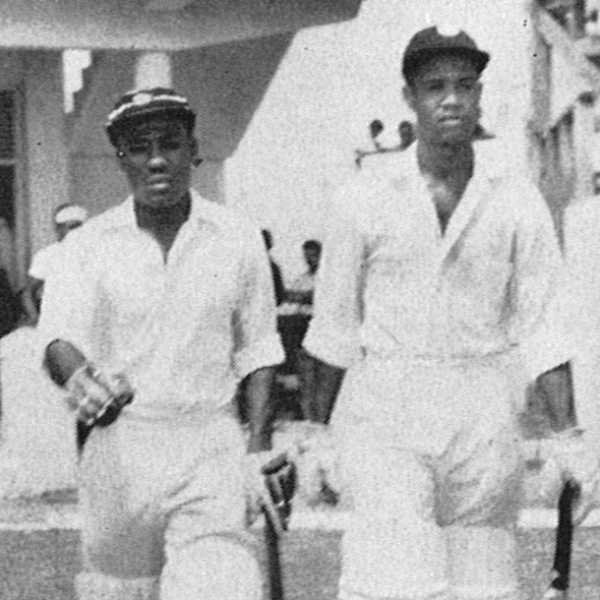 Conrad Hunte (left) and Gary Sobers walk out to bat against Pakistan 1958