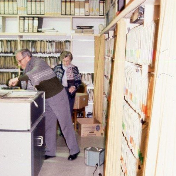Erica Utzinger and her husband Beni working in the archives